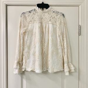 Altar'd State Victorian Mock Neck Lace Frill Top S